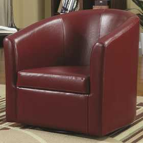 Coaster 902099 Red Vinyl Accent Swivel Chair