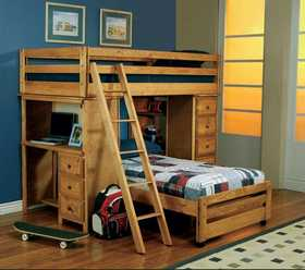 Coaster 460141 Wrangle Hill Twin Over Twin Loft Bed With Built-In Desk
