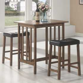 Coaster 130004SET Bar 3pc Black/Brown