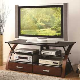 Coaster 700770 Tv Console With Black Glass