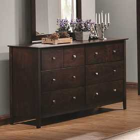 Coaster 202083 Tia 6 Drawer Dresser With Brushed Nickel Hardware