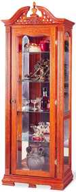 Coaster 5807 5 Shelf Traditional Curio Cabinet With 1 Door & Ornate Woodcarved Top