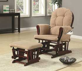 Coaster 650010 Casual Glider Rocker With Beige Upholstery