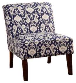 Coaster 902028 Navy/White Ikat Fabric Armless Accent Chair