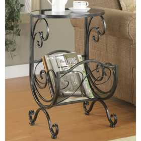 Coaster 700401 Metal & Glass Scroll Side Table