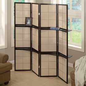 Coaster 900166 Folding Floor Screen With 4 Wood Shelves