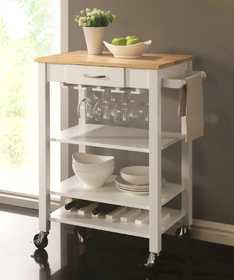Coaster 910025 Cart Kitchen Ntrl/Wht