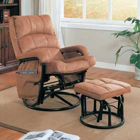 Coaster 650005 Glider Recliner With Matching Ottoman