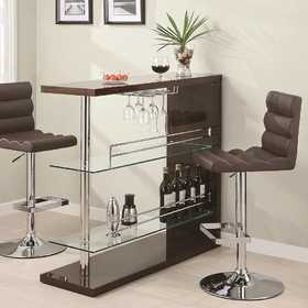 Coaster 100166 Rectangular Bar Unit With 2 Shelves And Wine Holder