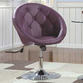 Coaster 102581 Contemporary Round Tufted Purple Swivel Chair