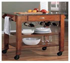 Coaster 910009 Granite Top Kitchen Cart With Wine Storage