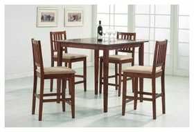 Coaster 150121 Counter Table /4 Chairs Tobacco Finish
