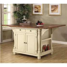 Coaster 102271 Two-Tone Kitchen Island With Drop Leaves