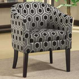 Coaster 900435 Charlotte Hexagon Patterned Accent Chair With Wood Legs