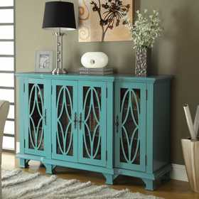 Coaster 950245 Accent Cabinets Large Teal Cabinet With 4 Glass Doors