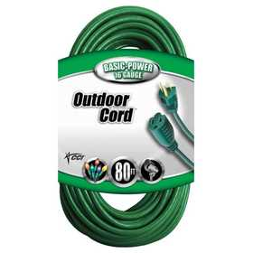 Coleman Cable 02353-88-05 Extension Cord 16/3 Sjtw 80 ft Green