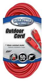 Coleman Cable 02408-88-04 Extension Cord 14/3 Sjtw 50 ft Red