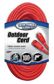 Coleman Cable 02409-88-04 Extension Cord 14/3 Sjtw100 ft Red