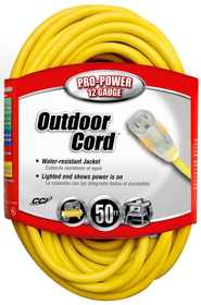Coleman Cable 02588-00-02 Extension Cord 12/3 Sjtw 50 ft Yellow