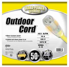 Coleman Cable 02688-88-02 Extension Cord Outdoor 10/3 Sjtw 50 ft
