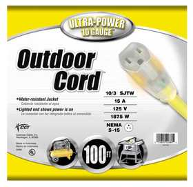 Coleman Cable 02689-88-02 Extension Cord Outdoor 10/3 Sjtw 100 ft
