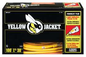 Coleman Cable 02885 Yellow Jacket Lighted End Extension Cord Cw 12/3 100 ft