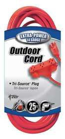 Coleman Cable 04217-88-04 Extension Cord 14/3 Sjtw 25 ft Red