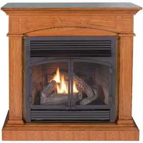 Procom FBD400RTCC-M-MO 45 in Convertible Vent-Free Propane Gas Fireplace In Medium Oak With Remote