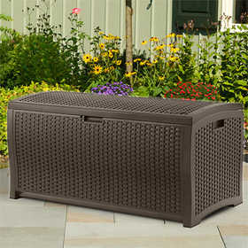 Suncast DBW7300 Resin Wicker Deck Box 73 Gal