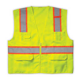 Custom Leathercraft SV22XL Vest Surveyor Class 2 Lime Xl