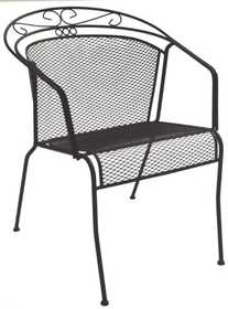 DC America WIC258 Charleston Wrought Iron Low-Back Chair- Black