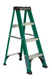 Louisville Ladder FS4004 Louisville Ladder Fs4004, 4 ft Fiberglass Step Ladder, Type Ii, 225Lbs Rated