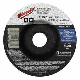 Milwaukee 49-94-4520 4-1/2 In X 1/4 In X 7/8 In Grinding Wheel (Type 27)
