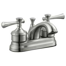 Design House 524546 4 in 2 Handle Ironwood Lavatory Faucet Satin Nickel