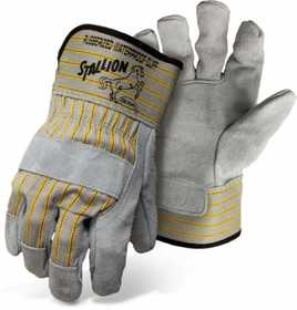 Boss Mfg Co 1290 Stallion Side Split Leather Palm Gloves With Safety Cuff, Large