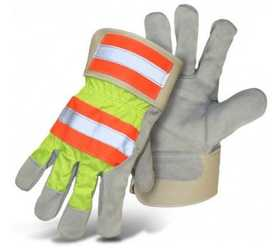 Boss Mfg Co 5460 High-Vis Standard Grade Split Cowhide Leather Palm Glove, Large