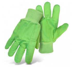 Boss Mfg Co 4030MIN High Visibility Boss Cord 2-Ply 100% Cotton Fluorescent Green Gloves Size Large