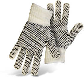 Boss Mfg Co 5522 Reversible String Knit White Gloves With Black PVC Dots On Both Sides Size Large