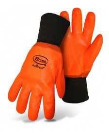 Boss Mfg Co 3500 Hot Hands High Visibility PVC Fluorescent Orange Gloves With Knit Wrist
