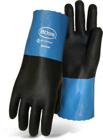 Boss Mfg Co 34M Lined Neoprene 11 in Black And Blue Gloves With Gauntlet Cuff Size Medium