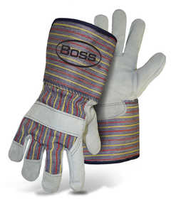 Boss Mfg Co 4046 Cowhide Split Leather Palm Gauntlet Cuff Glove Size Large