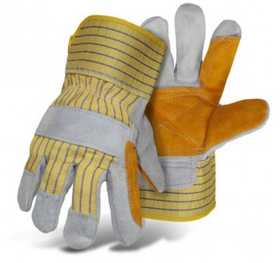 Boss Mfg Co 4057 Side Split Cowhide Double Leather Palm Glove With Rubberized Safety Cuff