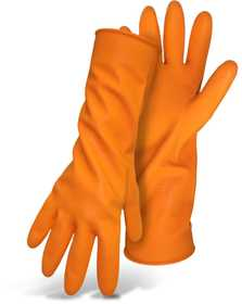Boss Mfg Co 4708L Orange Flock Lined 28Mil Latex Diamond Grip 13 in Gloves With Rolled Cuff Size Large