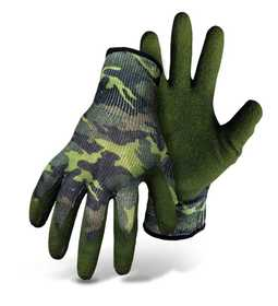 Boss Mfg Co 8426CM Textured Latex Gloves with Coated Palm and Knit Wrist, Camouflage, Medium
