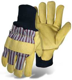 Boss Mfg Co 4341L Poly-Insulated Grain Pigskin Leather Palm Knit Wrist Glove Large