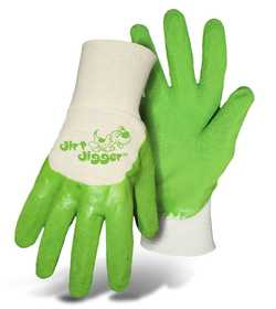 Boss Mfg Co 8404GB Boss Dirt Digger Kid's Green Textured Coated Gloves Ages 9-12