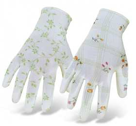 Boss Mfg Co 9600 Ladies' Light Floral Nylon Knit Gloves With Pu Coating On Palm/Fingers