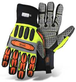 Boss Mfg Co 6100MX High-Vis Impact Molded Knuckle/Finger, PVC Palm Glove XLarge
