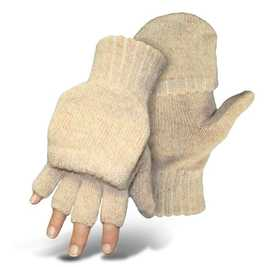Boss Mfg Co 250LL Brown Tweed Ragg Wool Half Finger With Mitten Flap Glove Large
