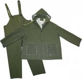 Boss Mfg Co 3PR0300GM Polyester Lined PVC Green Rain Suit 35mm, 3 Piece Set Size Medium